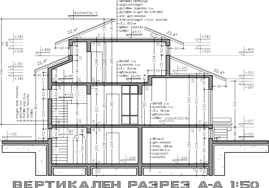 Plan Coupe Elevation Architecture : Accent bg Дом Колеви Елин Пелин